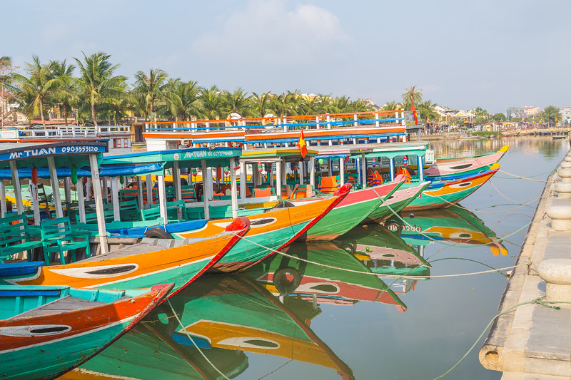 Colourful tour boats in Ancient Town Hoi An