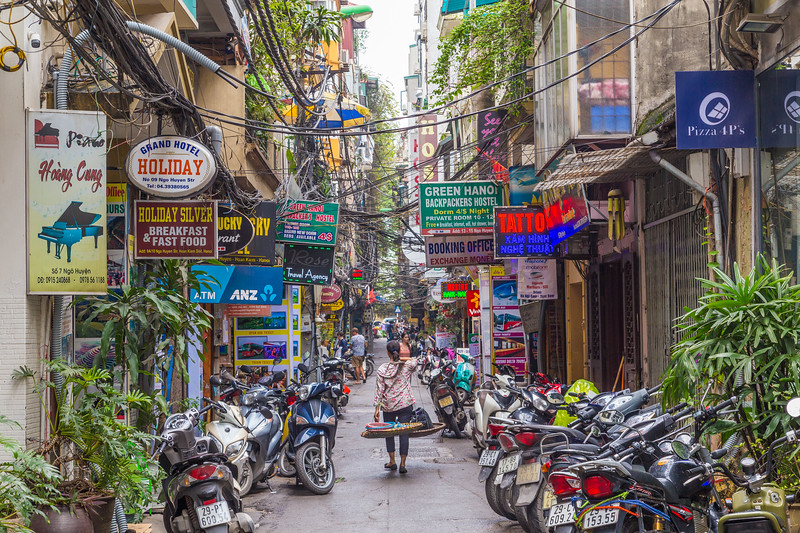 Streets and buildings in Hanoi, Vietnam