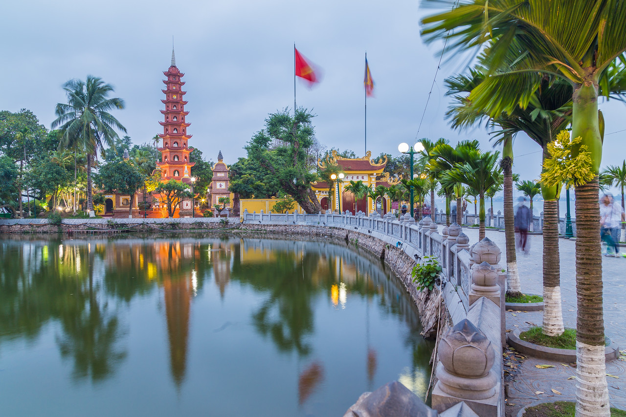 Tran Quoc Pagoda in Hanoi after sunset