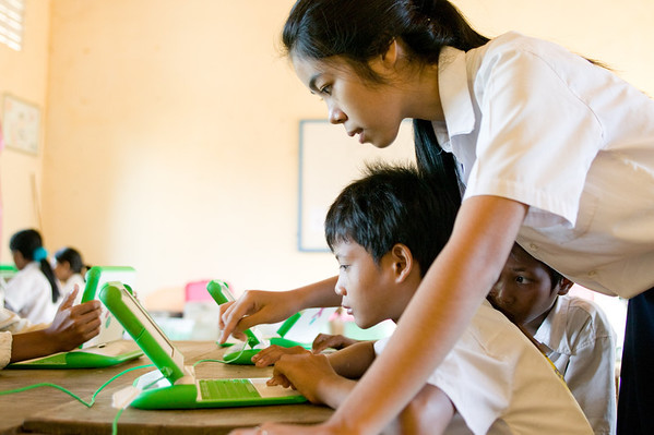 Students in rural  Chanleas Dai are part of the XO OLPC (One Laptop Per Child) pilot program.