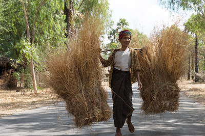 Woman carrying crop