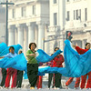 Morning Exercise<br /> Shanghai, Pudong, China<br /> <br /> The white buildings in the historic Bund District of Shanghai create a beautiful background to the blue flowing silk fans of the women practicing their Tai Chi in the cool morning air.