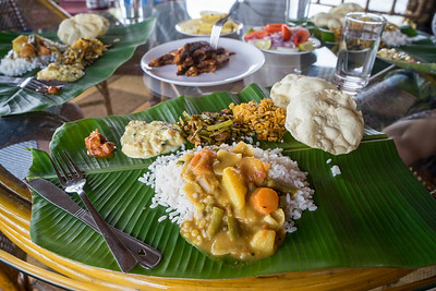 Feast of traditional food on a houseboat in the Kerala Backwaters