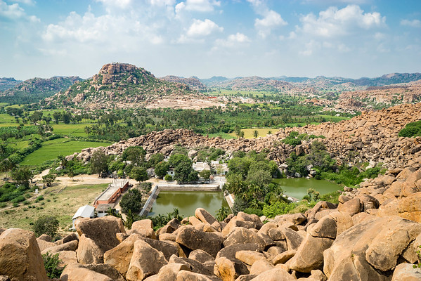 Looking down on the Laxmi temple, Hampi