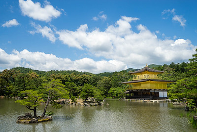 Lake and golden shrine in Japan