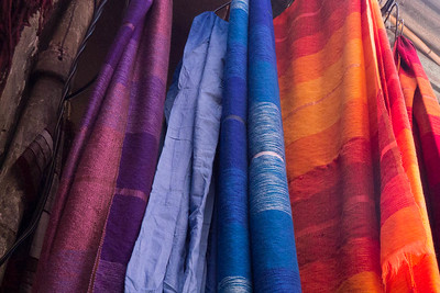 Colourful scarves in market