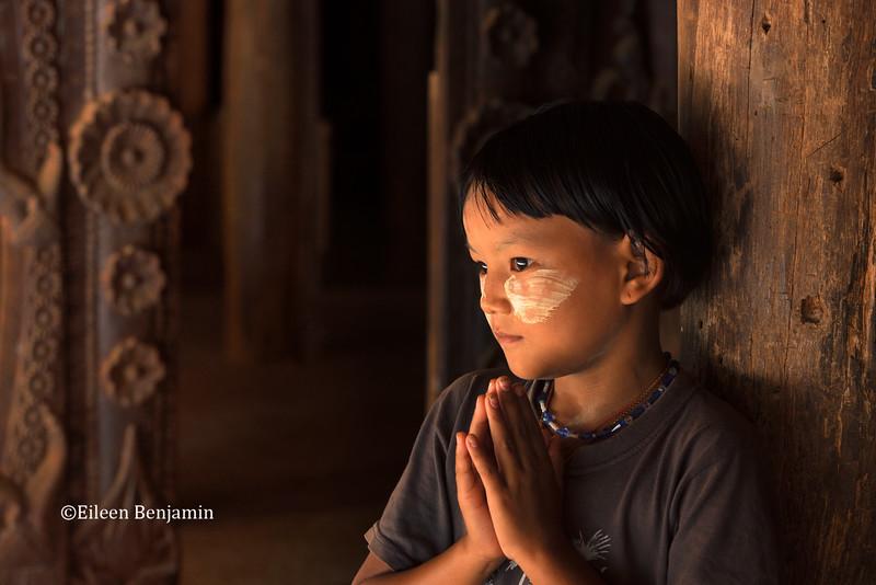 Girl posing at Taung Pi monastery - Bagan