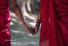 Monks with umbrella in Ohn Ne village - Mandalay