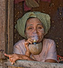Woman smoking - Bagan