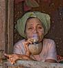 Woman smoking - Bagan