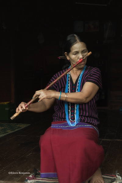 Chin Woman Playing Flute Through Nose - Kampalet