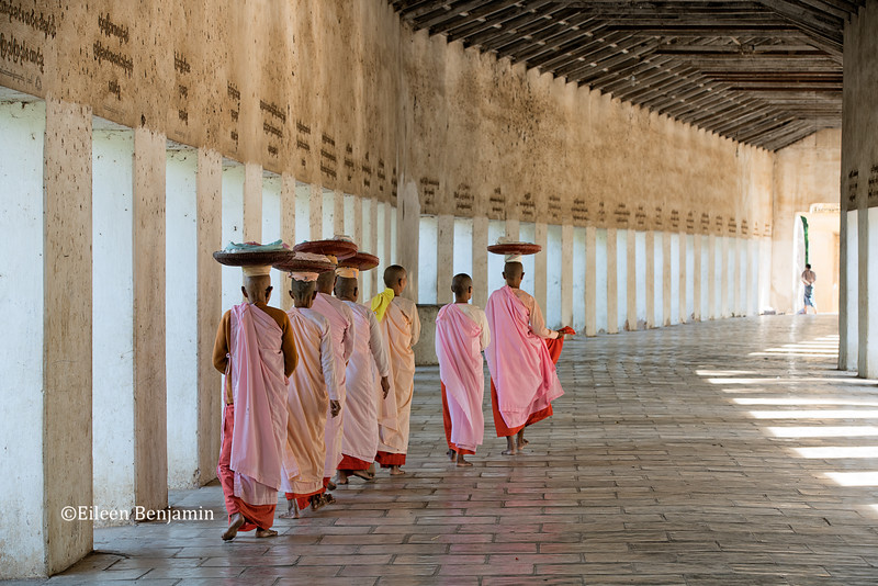 Monks at Shwezigon Pagoda - Bagan