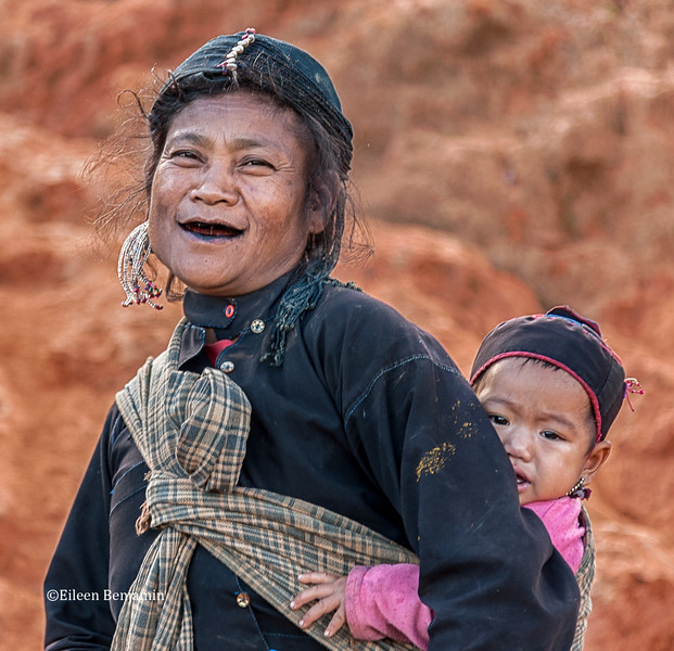 Eng Lady with Black Teeth from Chewing Herbs, Pintauk Village - Kyaington, Burma