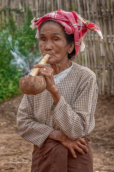 Village woman smoking pipe- Mandalay, Burma