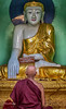 Budha and monk at Shwedagon Pagoda, Yangon