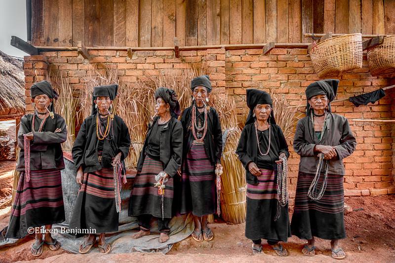 Vanishing Akha Hill Tribe  - Women with Pipe - Kyaing Tong, Burma