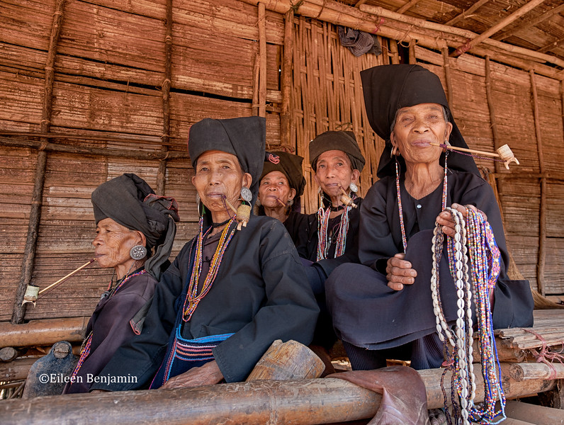 Vanishing Akha Hill Tribe  - Women with Pipe - Kyaing Tong, Burma