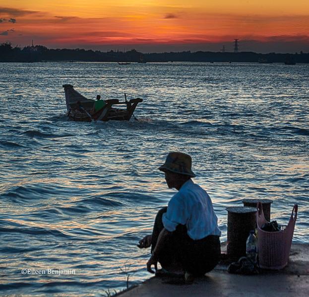 Long tailboats at Sin OoDan Jetty, Yangon