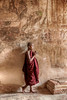 Monk in front of Painted Fresco at Sulamani Temple, - Bagan, Burma