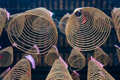 Spiral incense coils hang from the rafters at Thien Hau Temple, Ho Chi Minh City.