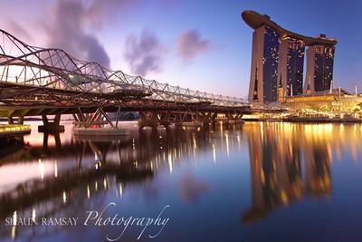 Marina Bay Sands and DNA Bridge at Dawn, Singapore (II)