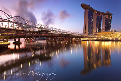 Marina Bay Sands and DNA Bridge at Dawn, Singapore (II)