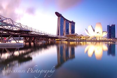 Marina Bay Sands and the DNA Bridge at Dawn, Singapore