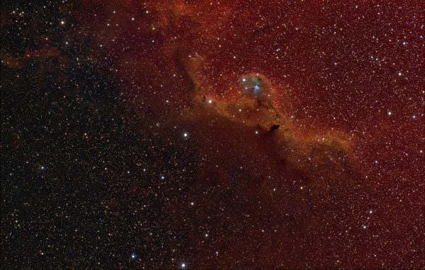 Widefield view of the area around Barnard 30 and Sharpless 264  7.5 hours of Ha (15 x 30 minutes) 5 hours of OIII, Binned 2x2 (10 x 30 minutes) 4.5 hours of SII, Binned 2x2 (9 x 30 minutes) ~2.5 hours of RGB, in 1, 5 & 10 minute exposures.   Date: 1/18/2012, 1/19/2012, 2/15/2012, 2/18/2012, 2/21/2012, 2/24/2012  Telescope: Takahashi FSQ-106ED with CAA Mount: Astro-Physics Mach1GTO Guider: Meade DSI Pro through Astrodon MMOAG CCD: Finger Lakes Instruments ML11002 CCD, with 65mm shutter Fiter Wheel: Finger Lakes Instruments CFW-2-7 Filters: Baader 50.8mm 7nm Hydrogen Alpha, 8.5nm OIII, 7nm Sulfur II &, LRGB  Software: MaximDL, Registar, Photoshop CS3 with Carboni & GXT Location: Light polluted back yard in El Paso, Texas  Polar Alignment: PoleAlignMax   Published - Astronomy Magazine, November 2012