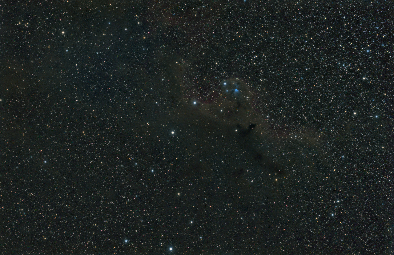 Widefield view of the area around Barnard 30 and Sharpless 264<br /> <br /> ~2.5 hours of LRGB, in 1, 5 & 10 minute exposures<br /> <br /> Date: 2/15/2012, 2/18/2012<br /> <br /> Telescope: Takahashi FSQ-106ED with CAA<br /> Mount: Astro-Physics Mach1GTO<br /> Guider: Meade DSI Pro through Astrodon MMOAG<br /> CCD: Finger Lakes Instruments ML11002 CCD, with 65mm shutter<br /> Fiter Wheel: Finger Lakes Instruments CFW-2-7<br /> Filters: Baader 50.8mm LRGB<br /> <br /> Software: MaximDL, Registar, Photoshop CS3 with Carboni & GXT<br /> Location: Light polluted back yard in El Paso, Texas<br /> <br /> Polar Alignment: PoleAlignMax<br /> <br /> <br /> Published - Astronomy Magazine, November 2012