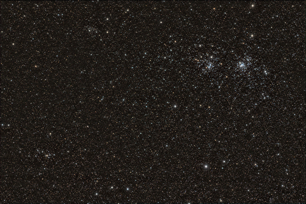Widefield view of the Double Cluster (Caldwell 14)<br /> <br /> ~1.5 hours of LRGB<br /> L=10x300s<br /> R=10x60<br /> G=10x60<br /> B=10x60<br /> Calibration 20,20,10 flats of each LRGB<br /> <br /> Date: 11/22/11<br /> <br /> Telescope: Takahashi FSQ-106ED with CAA<br /> Mount: Astro-Physics Mach1GTO<br /> Guider: Meade DSI Pro through Astrodon MMOAG, with 2 Px Dither<br /> CCD: Finger Lakes Instruments ML11002 CCD, with 65mm shutter<br /> Fiter Wheel: Finger Lakes Instruments CFW-2-7<br /> Filters: Baader 50.8mm LRGB<br /> <br /> Software: MaximDL, Registar, Photoshop CS3 with Carboni & GXT<br /> Location: Light polluted back yard in El Paso, Texas<br /> <br /> Polar Alignment: PoleAlignMax