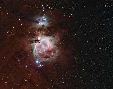 M42 - The Orion Nebula + NGC1977 - The Running Man Nebula  Date: 11/26/2011, 12/25/2011, 12/25/2010  This is a combination of 3 night of data, at different exposures. Ha - 6 x 1800s OIII - 4 x 1800s RGB - 5 x 300s RGB - 5 x 60s RGB - 10 x 10s  Calibration 20,20,10 Flats on RGB frames, 20 flats on all others  Telescope: Takahashi FSQ-106ED with CAA Mount: G11 Gemini w/ Ovision Guider: Meade DSI Pro through Astrodon MMOAG, 2 Px Dither CCD: Finger Lakes Instruments ML11002 CCD, with 65mm shutter Fiter Wheel: Finger Lakes Instruments CFW-2-7 Filters: Baader 50.8mm RGB, Ha, OIII  Software: MaximDL, Registar, Photoshop CS3 with Carboni & GXT Location: Light polluted back yard in El Paso, Texas  Polar Alignment: PoleAlignMax