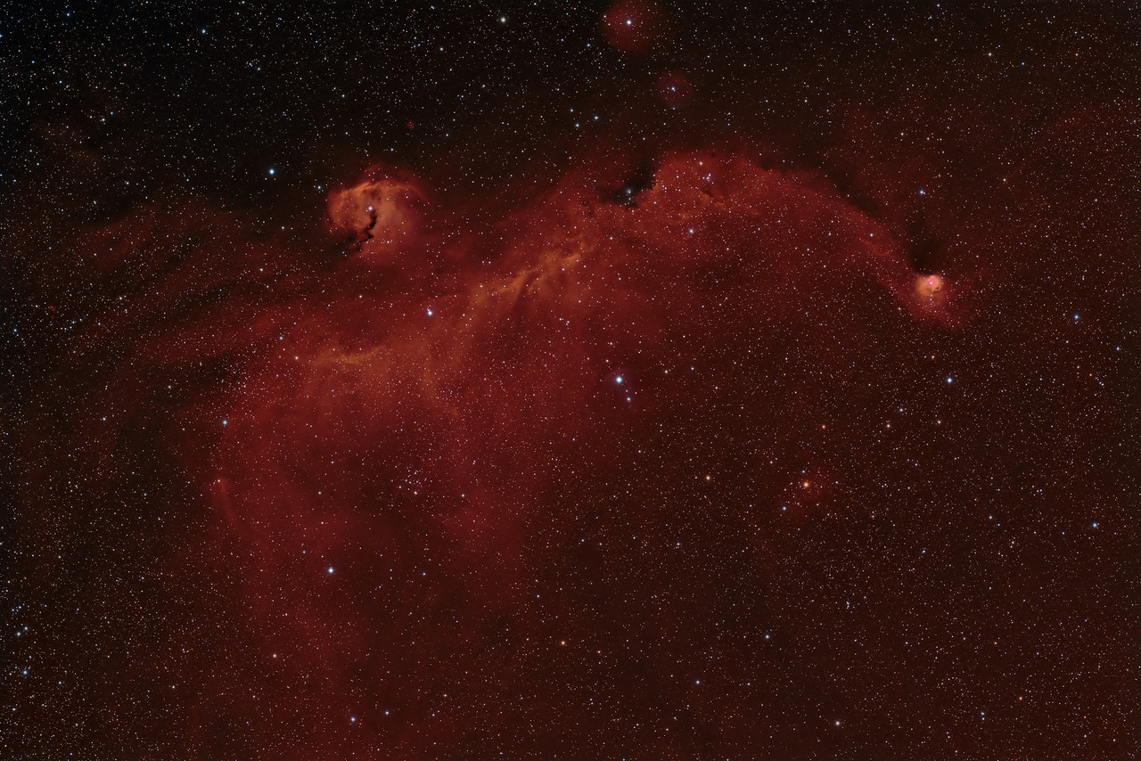 IC2177 - The Seagull Nebula<br /> <br /> Date: 2/22/11, 2/23/11, 3/5/11<br /> <br /> This is a combination of 3 night of data, at different exposures.<br /> Ha - 9 x 30 min<br /> RGB - 20 x 1min each<br /> Calibration 20,20,20<br /> <br /> Telescope: Takahashi FSQ-106ED with CAA<br /> Mount: Astro-Physics Mach1GTO<br /> Guider: Meade DSI Pro through Astrodon MMOAG, With 2 Px Dither<br /> CCD: Finger Lakes Instruments ML11002 CCD, with 65mm shutter<br /> Fiter Wheel: Finger Lakes Instruments CFW-2-7<br /> Filters: Baader 50.8mm RGB, Ha<br /> <br /> Software: MaximDL, Registar, Photoshop CS3 with Carboni & GXT<br /> Location: Light polluted back yard in El Paso, Texas<br /> <br /> Polar Alignment: PoleAlignMax