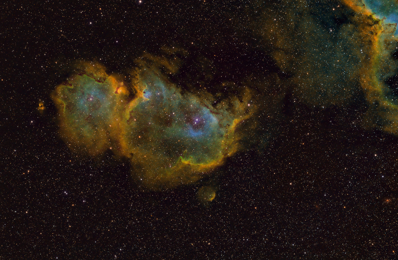 IC1848 The Soul Nebula - Mapped to HST Pallet<br /> <br /> Date: 10/1/11, 10/9/11, 10/14/11, 11/16/11<br /> <br /> This is a combination of 4 night of data.<br /> Ha -8 x 30 min<br /> SII -8 x 30 min<br /> OIII - 6 x 30 min<br /> RGB - 20 x 1min each<br /> Calibration 20,20,20<br /> <br /> Telescope: Takahashi FSQ-106ED with CAA<br /> Mount: Astro-Physics Mach1GTO<br /> Guider: Meade DSI Pro through Astrodon MMOAG, With 2 Px Dither<br /> CCD: Finger Lakes Instruments ML11002 CCD, with 65mm shutter<br /> Fiter Wheel: Finger Lakes Instruments CFW-2-7<br /> Filters: Baader 50.8mm RGB, Ha, OIII, SII<br /> <br /> Software: MaximDL, Registar, Photoshop CS3 with Carboni & GXT<br /> Location: Light polluted back yard in El Paso, Texas<br /> <br /> Polar Alignment: PoleAlignMax<br /> <br /> Dedicated to my Dad