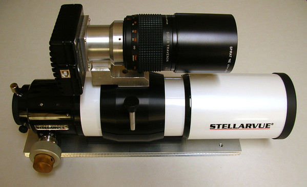 My first real imaging scope, a Stellarvue SV80ST   80mm Triplet Apochromatic  Guider is a Meade DSI Pro and a 300mm mirror lens, coupled through a custom mounting.