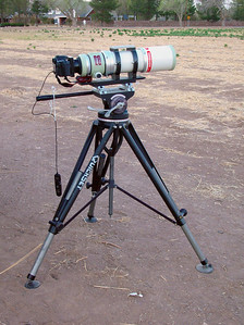 Terrestrial set-up for the FSQ-106ED.  This allows quick change-out from CCD to DSLR.  The Quickset tripod is very stable and will easily hold several hundred pounds.  This setup has been used for Birding and Lunar/Solar shots.