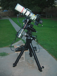 "Telescope: Takahashi FSQ-106ED with CAA Mount: Astro-Physics Mach1GTO with 1-7/8"" Counterweight Shaft Guider: Meade DSI Pro through Astrodon MMOAG CCD: Finger Lakes Instruments ML11002 CCD, with 65mm shutter Fiter Wheel: Finger Lakes Instruments CFW-2-7 Filters: Baader 50.8mm LRGB & Astrodon 3nm Ha, OIII and SII Tripod: Losmandy HD, with custom machined adapter plate."