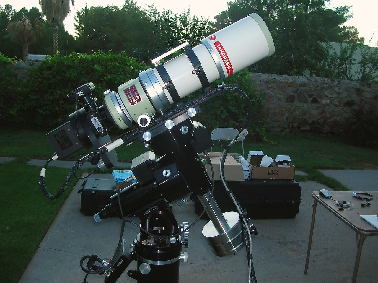"Telescope: Takahashi FSQ-106ED with CAA<br /> Mount: Astro-Physics Mach1GTO with 1-7/8"" Counterweight Shaft<br /> Guider: Meade DSI Pro through Astrodon MMOAG<br /> CCD: Finger Lakes Instruments ML11002 CCD, with 65mm shutter<br /> Fiter Wheel: Finger Lakes Instruments CFW-2-7<br /> Filters: Baader 50.8mm LRGB & Astrodon 3nm Ha, OIII and SII<br /> Tripod: Losmandy HD, with custom machined adapter plate."