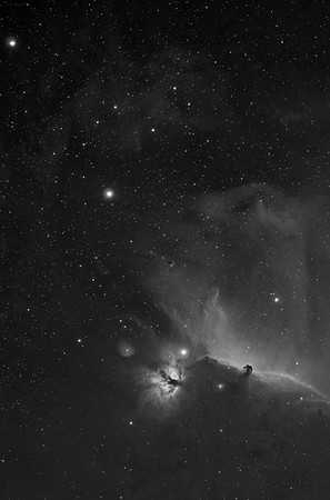 Barnard 33 in Hydrogen Alpha.   - This is one frame of an 8 frame, 60 megapixel mosaic of the Orion area (seen in the Monochrome Images Gallery)  4 hours of Ha (8 x 30 minutes)  Date: 12/24/10, 12/25/10  Telescope: Takahashi FSQ-106ED with CAA Mount: Losmandy G11 Gemini with Ovision Worm Guider: Meade DSI Pro through Astrodon MMOAG CCD: Finger Lakes Instruments ML11002 CCD, with 65mm shutter Fiter Wheel: Finger Lakes Instruments CFW-2-7 Filters: Baader 50.8mm 7nm Hydrogen Alpha  Software: MaximDL, Registar, Photoshop CS3 with Carboni & GXT Location: Light polluted back yard in El Paso, Texas  Polar Alignment: Optical alignment with Polar scope only