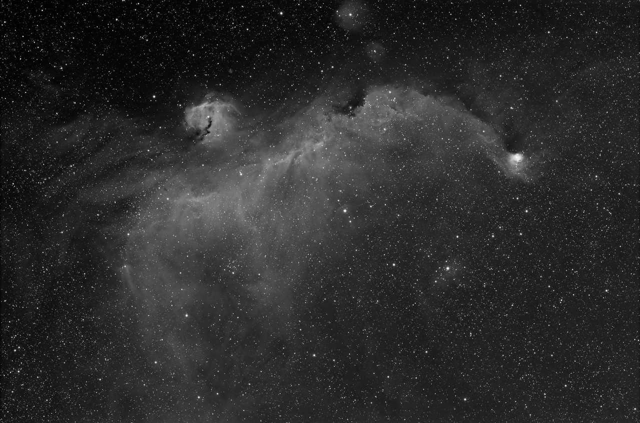 IC2177 - Seagull Nebula<br /> <br /> Ha - 9 x 30 min @-30C<br /> 20,20,20 Calibration frames<br /> <br /> Date: 3/5/11<br /> <br /> Telescope: Takahashi FSQ-106ED with CAA<br /> Mount: Losmandy G11 Gemini with Ovision Worm<br /> Guider: Meade DSI Pro through Astrodon MMOAG with 2 Pixel Dither<br /> CCD: Finger Lakes Instruments ML11002 CCD, with 65mm shutter<br /> Fiter Wheel: Finger Lakes Instruments CFW-2-7<br /> Filters: Baader 50.8mm Hydrogen Alpha<br /> <br /> Software: MaximDL, Registar, Photoshop CS3 with Carboni & GXT<br /> Location: Light polluted back yard in El Paso, Texas<br /> <br /> Polar Alignment: Polar Scope 0nly