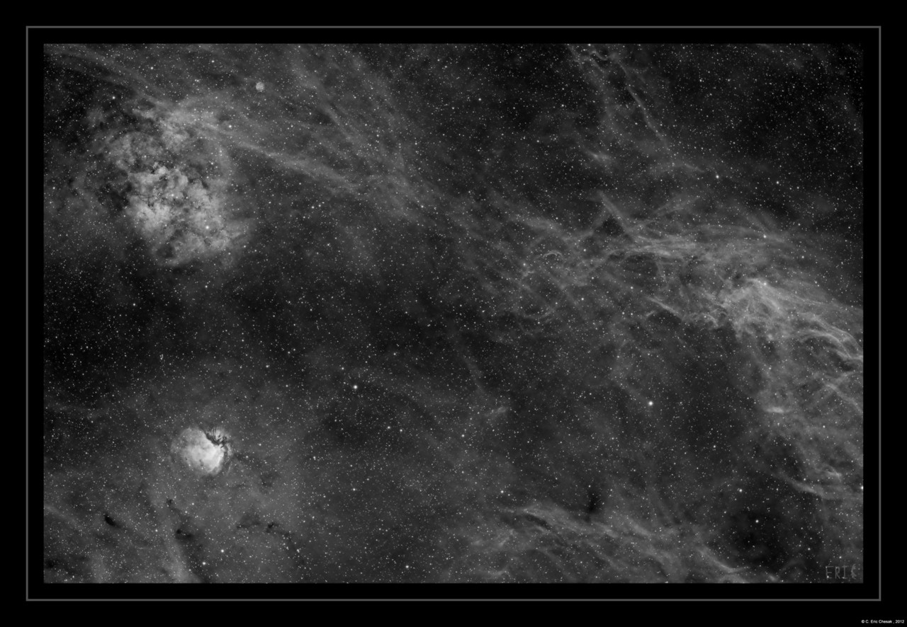 This in area East of Deneb.  It consists of Sh2-115, Sh2-112 Barnard 345 and lots of nebulosity.  <br /> 7 hours of Ha (14 x 30 minutes)<br /> <br /> Date: 11/13/12, 11/22/12, 11/23/12<br /> <br /> Telescope: Takahashi FSQ-106ED with CAA<br /> Mount: Astro-Physics Mach1GTO<br /> Guider: Meade DSI Pro through Astrodon MMOAG<br /> CCD: Finger Lakes Instruments ML11002 CCD, with 65mm shutter<br /> Fiter Wheel: Finger Lakes Instruments CFW-2-7<br /> Filters: Astrodon 3nm Hydrogen Alpha<br /> <br /> Software: MaximDL, Registar, Photoshop CS3 with Carboni & GXT<br /> Location: Light polluted back yard in El Paso, Texas<br /> <br /> Polar Alignment: PoleAlignMax
