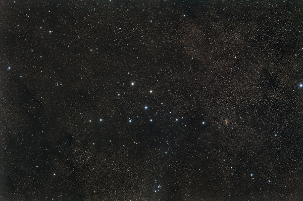 Brocchi's Cluster - The Coat Hanger Asterism  Date: 8/26/11  This is a combination of 2 night of data. RGB - 7 x 1min each L - 7 x 5 minutes Calibration 20,20,20  Telescope: Takahashi FSQ-106ED with CAA Mount: Astro-Physics Mach1GTO Guider: Meade DSI Pro through Astrodon MMOAG, with 2 Px dither CCD: Finger Lakes Instruments ML11002 CCD, with 65mm shutter Fiter Wheel: Finger Lakes Instruments CFW-2-7 Filters: Baader 50.8mm LRGB  Software: MaximDL, Registar, Photoshop CS3 with Carboni & GXT Location: Light polluted back yard in El Paso, Texas  Polar Alignment: PoleAlignMax