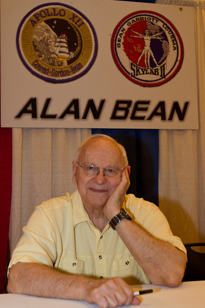 Captain Alan Bean (b. 1932) is a Texas native. A veteran of two flights, first Apollo 12, the second lunar landing where he became the 4th of 12 moonwalkers. His 2nd flight was as mission commander of the second of three Skylab crews in 1973, spending 73 days aboard the world's first space station. Since leaving NASA in 1982, he has become a well-known space artist, specializing in the Apollo lunar landings in his own colorful, impressionistic style. Alan spends his retirement painting and giving motivational talks to corporations. He lives in Houston with wife Leslie.