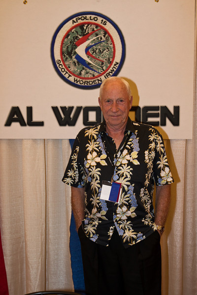 Colonel Al Worden became an Apollo astronaut in 1966. He is from Jackson, Michigan, the same home town as Gemini 4 and Apollo 9's Jim McDivitt.<br /> He graduated from West Point in 1955, and was commissioned by the Air Force. Upon joining NASA, he was Richard Gordon's backup as command module pilot on Apollo 12. That meant he was to become CMP on Apollo 15, in 1971, three flights later. This crew, with Dave Scott as mission CDR and James Irwin as LMP, received extensive geolopy training, and would explore the surface for three days, assisted by the first lunar rover.<br /> Worden would remain in orbit, but his command & service Module was now outfitted with a SIM bay, a scientific instrument module, with mapping cameras, a sub-satellite, many environmental experiments. Worden did geology from orbit, while operating the SIM bay.<br /> On the way home, Worden made a 38-minute deep-space EVA to retrieve the wxposed film canisters from the SIM cameras.