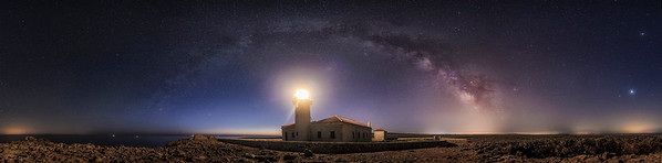 Panoramic milky way above the Nati lighthouse