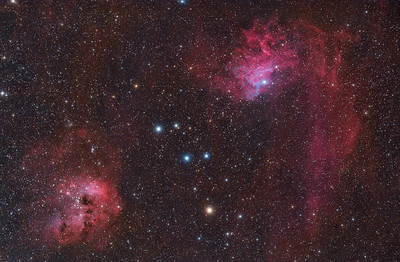 Flaming Star and Tadpole Nebulae