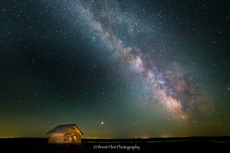 DF.4703 - Swanson Schoolhouse and Milky Way galactic core, Lincoln County, WA.