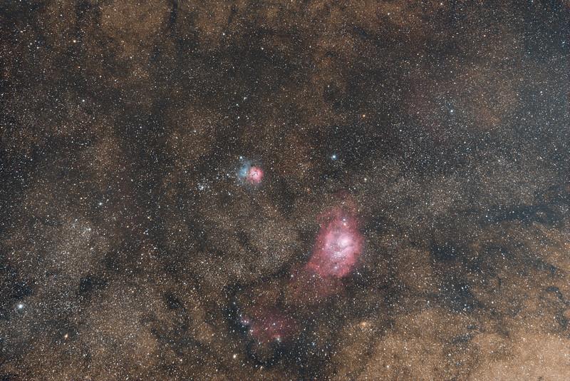 Trifid and Lagoon Nebulae