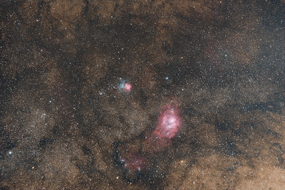 Trifid (M20) and Lagoon (M8) Nebulae in Sagittarius