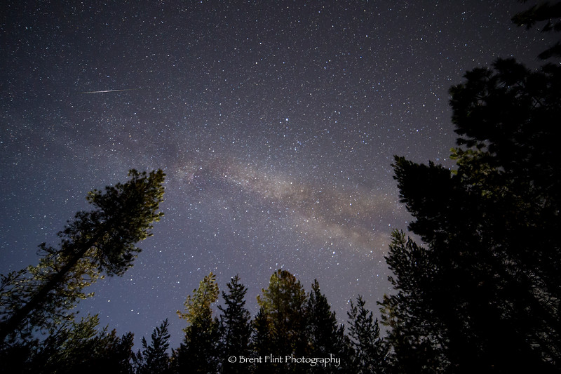 DF.4532 - meteorite falling during the Lyrid meteor shower with Milky Way core in background, Bonner County, ID.