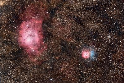 Lagoon and Trifid Nebulae (M8 and M20) in Sagittarius